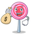 with money bag cute lollipop character cartoon vector image vector image