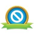 Gold sign ban logo vector image