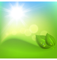 Background with green leaf and a drop of dew vector image