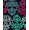 Hand drawn seamless pattern with human skulls in vector image
