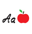 apple and letter a vector image