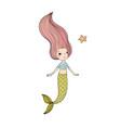 beautiful little mermaid and fish siren vector image vector image