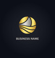 boat round abstract gold logo vector image vector image