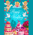 bride and groom with wedding rings gifts and cake vector image vector image