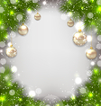 Christmas decorative border from fir twigs glowing