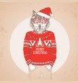 christmas hipster fashion animal wolf vector image vector image