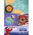 columbus day banner set cartoon style vector image