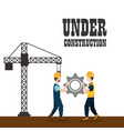 construction workers with under construction icons vector image vector image