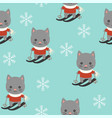 cute kitten playing ski christmas seamless vector image vector image