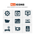 digital icons set with video card folder vector image