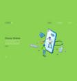 doctor online isometric landing page telehealth vector image