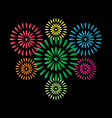 Fireworks colorful isolated on black background vector image