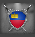 flag of liechtenstein the shield with national vector image vector image
