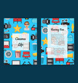 flat cinema icons card or flyer vector image vector image