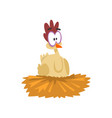 funny hen sitting in the nest comic cartoon vector image