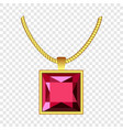 garnet necklace icon realistic style vector image vector image