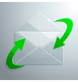 Glass Icon of Open Envelope with Arrows vector image vector image