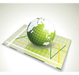 green globe on glass with various diagram vector image