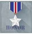 grunge military honor medal icon background vector image