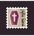 Halloween Coffin stamp vector image