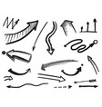 hand drawn black arrow and pointer isolated set vector image