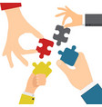 hands solving jigsaw vector image vector image