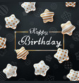 happy birthday beautiful dark template vector image