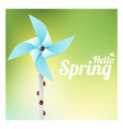 hello spring with ladybugs on colorful pinwheel vector image vector image