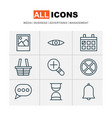 internet icons set includes icons such as message vector image vector image