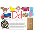 letter d learning english alphabet and writing vector image vector image