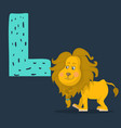 lion character with letter l vector image