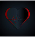 Paper cut heart rate icon isolated on black