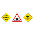 please wear a face mask set warning sign vector image