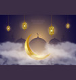 ramadan kareem background with golden crescent in vector image