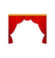 red curtains with lambrequins for theater or vector image