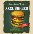 retro fast food king size burger poster vector image vector image