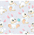 seamless pattern white bunnies soft gray vector image vector image