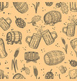 seamless pattern with beer design elements vector image