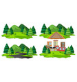 set of isolated nature landscape vector image vector image