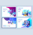 set of landing page templates for online language vector image