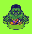 strong hulk with vegan nutrition vector image