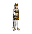 tigress woman in costume party halloween vector image vector image