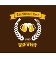 Traditional Beer emblem or label vector image vector image