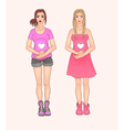 Two pregnant woman Fashion vector image