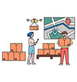 woman and man work in warehouse or post office vector image vector image