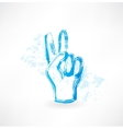 victory fingers grunge icon vector image