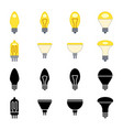 black silhouettes and colorful light bulbs icons vector image