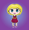 anime cute little cartoon girl with blond short vector image vector image