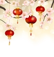 Background with Cherry Blossom and Hanging vector image vector image