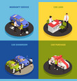 car dealership concept icons set vector image vector image